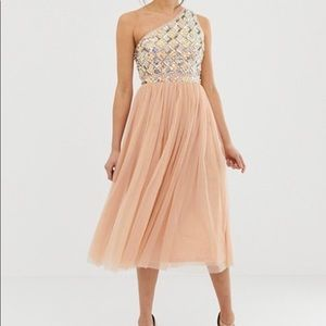 NWT ASOS DESIGN Tall Embellished Tulle Midi Dress